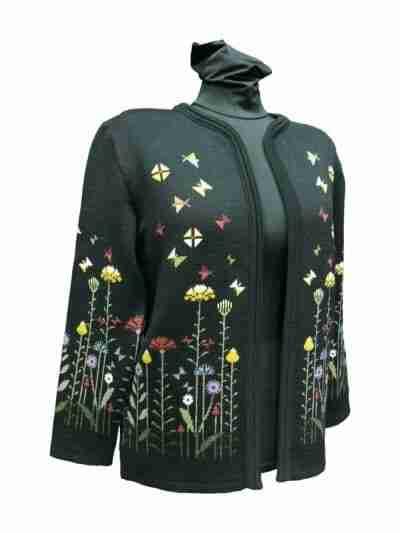 Flowers 60 cm musta neuletakki