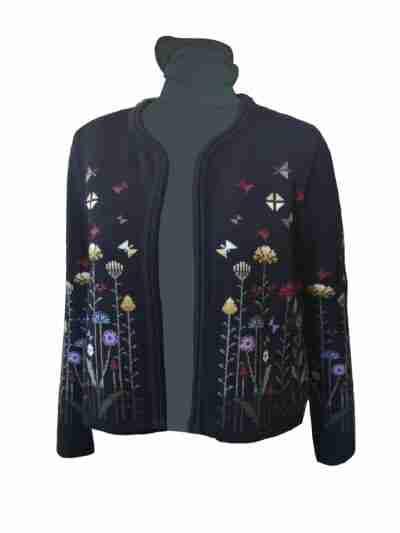 Black merino wool knitted jacket