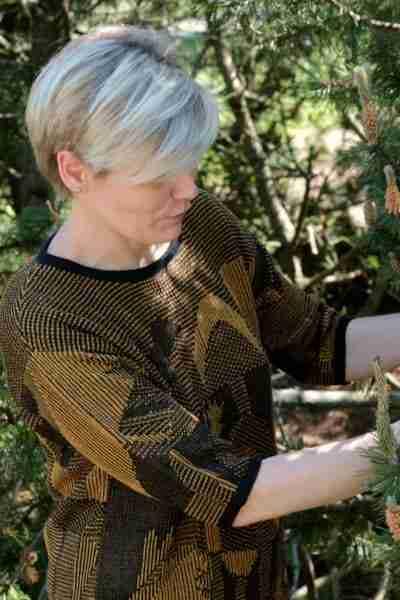 Pellavapusero Garden musta-okra